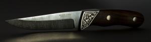 Engraved damasteel knife
