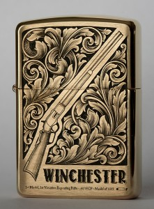 Hand engraved Zippo with Winchester