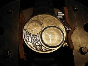 Partially shaded watch engraving