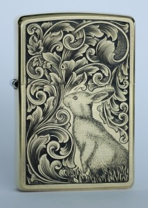 Hand engraved Zippo with rabbit