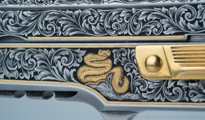 Gold inlaid and engraved snake on Sig Sauer P226 frame