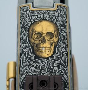 Engraved gold skull on Sig Sauer P226