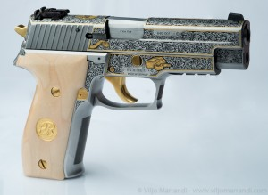 Right side view of hand engraved Sig Sauer P226