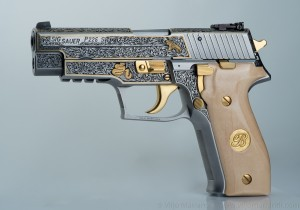 Left side view of engraved Sig Sauer P226