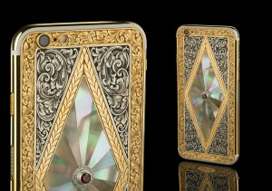 Engraved iPhone 6 with silver corners and Mother of Pearl mosaic